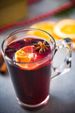 Mulled warming wine with spices.  Royalty Free Stock Image