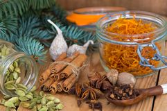 Mulled wein (Gluhwein) ingredients. On a desk Stock Photography