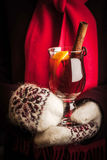 Mulled whine in the hands in knitted mittens vertical Royalty Free Stock Images