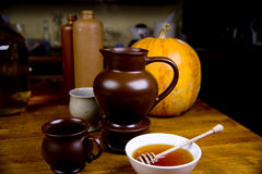 Mulled wine. Traditional hot wine with honey and spices Royalty Free Stock Images