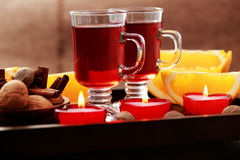 Mulled wine. Two glasses of mulled wine - food and drink Royalty Free Stock Photo