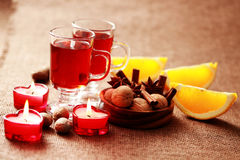 Mulled wine. Two glasses of mulled wine - food and drink Royalty Free Stock Images