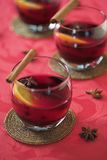 Mulled wine. Glasses of mulled wine - shallow dof royalty free stock image
