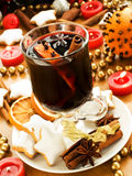 Mulled wine. With slice of orange and spices. Shallow dof Royalty Free Stock Images