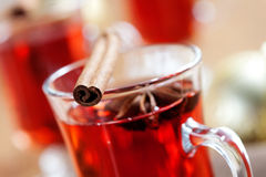 Mulled wine. Close up of mulled wine glass with cinnamon stick Royalty Free Stock Photos