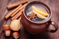 Mulled wine. Cup of mulled wine with spices - food and deink Stock Photo