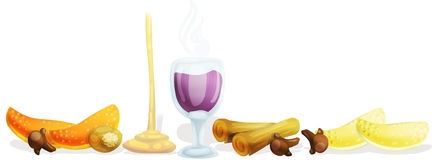 Mulled wine. Illustrated ingredients of mulled wine. clipping path included Royalty Free Stock Image