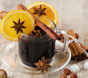 Mulled wine. On a wooden table Royalty Free Stock Photo
