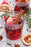 Mulled wine. Glass with red mulled wine Stock Image