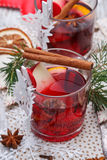 Mulled wine. Glass with red mulled wine Royalty Free Stock Photos