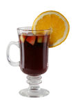 Mulled wine. Alcoholic mulled wine in the glass Stock Image