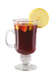 Mulled wine. Alcoholic mulled wine in the glass Stock Images