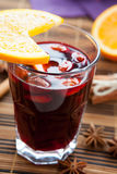 Mulled wine with almonds and orange Royalty Free Stock Image