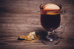 Mulled wine with apple and cinnamon Stock Photography