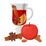 Mulled wine, apple and fragrant spices isolated on white background. Stock Image