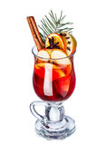 Mulled wine with apples. Decorated with cinnamon stick, star anise, cloves and pine branch. Elevated view Stock Photos