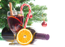 Mulled wine. On the background of Christmas tree Royalty Free Stock Photo