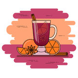 Mulled wine banner. Hot red wine with cinnamon, orange, star anice.  Stock Image