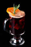Mulled Wine on a Black Background Stock Photos