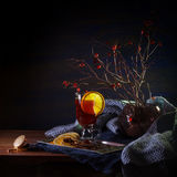 Mulled wine and brier branches Royalty Free Stock Photos