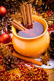 Mulled wine in brown jug Royalty Free Stock Photo