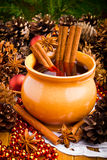 Mulled wine in brown jug Royalty Free Stock Photography