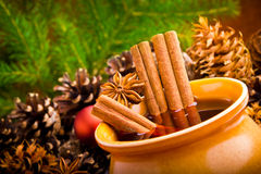 Mulled wine in brown jug Royalty Free Stock Image