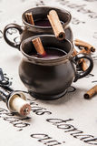 Mulled wine. In brown jugs Royalty Free Stock Image
