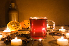 Mulled wine with candles Stock Image