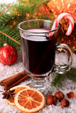 Mulled wine with candy stick Royalty Free Stock Images