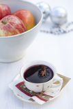 Mulled wine and christmas apples Stock Image