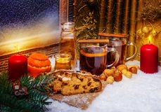 Mulled wine and christmas cake Royalty Free Stock Photography