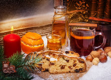 Mulled wine and christmas cake, 1st Advent Royalty Free Stock Image