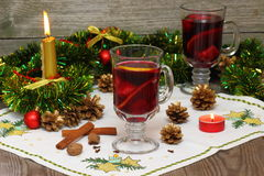 Mulled wine. Christmas composition with hot spiced wine stock photos