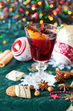 Mulled wine and Christmas cookies Royalty Free Stock Photos