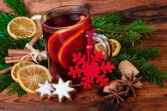 Mulled wine christmas decorated vintage style Royalty Free Stock Photo