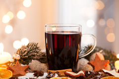 Mulled wine. Between a christmas decoration Stock Photos