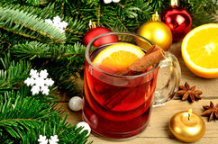 Mulled wine with christmas decoration Royalty Free Stock Photography