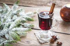 Mulled wine. On Christmas eve on the wooden table Stock Photos
