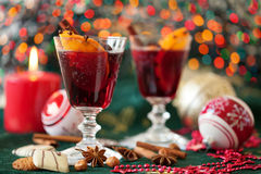 Mulled wine with Christmas lights in the backgrou Royalty Free Stock Image