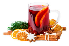Mulled Wine Christmas Punch Spices On White