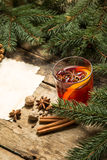 Mulled wine Christmas recipe background Royalty Free Stock Images