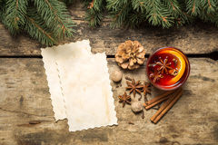 Mulled wine Christmas recipe background Royalty Free Stock Image