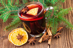 Mulled Wine with Christmas spices Stock Photos