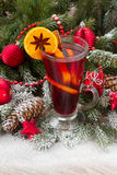Mulled wine with christmas tree Stock Photos