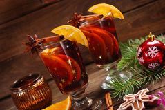 Mulled wine for christmas Stock Photos
