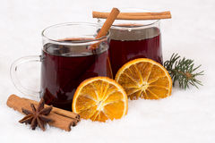 Mulled wine on Christmas in winter alcohol drink in snow Royalty Free Stock Images