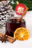 Mulled wine on Christmas in winter hot alcohol drink with snow Stock Photography