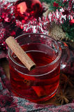 Mulled wine with cinnamon Stock Image