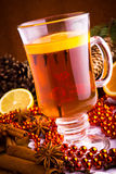 Mulled wine with cinnamon Royalty Free Stock Images